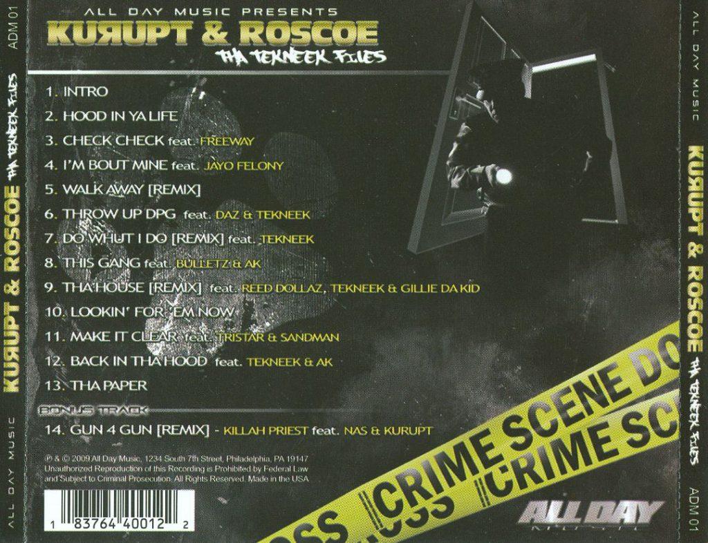 Kurupt & Roscoe - Tha Tekneek Files (Back)