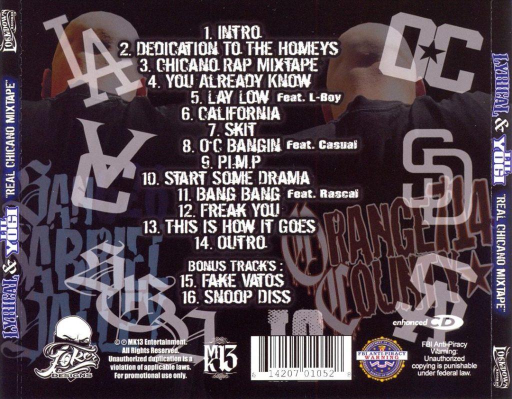 Lyrical & Lil Yogi - Real Chicano Mixtape (Back)