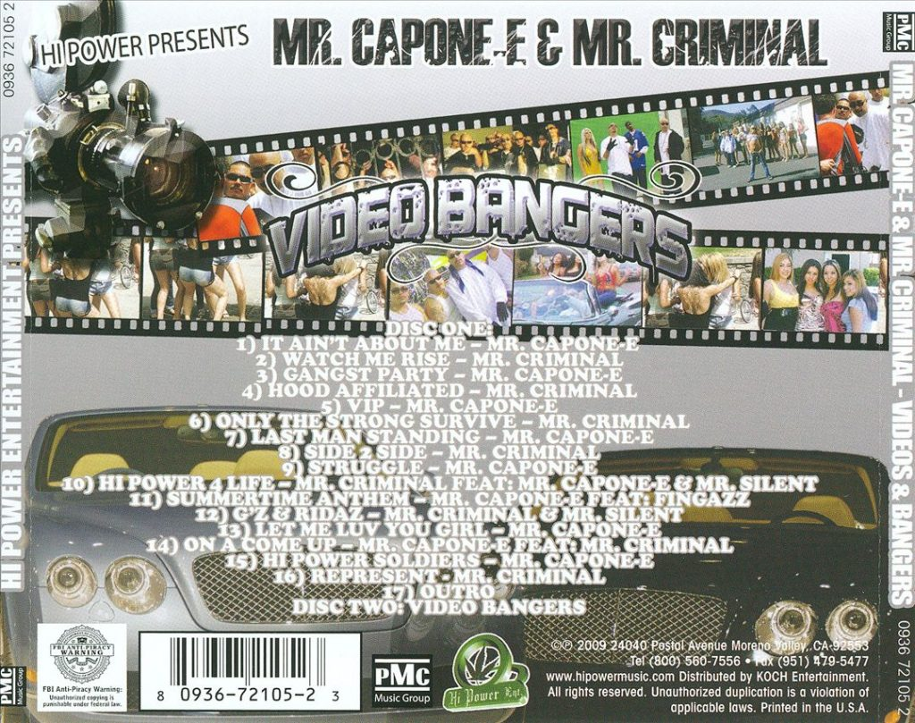 Mr. Capone-E & Mr. Criminal - Videos & Bangers (Back)