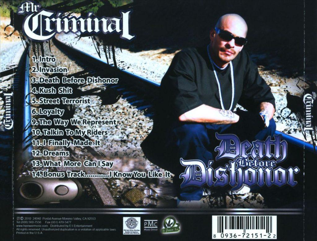 Mr. Criminal - Death Before Dishonor (Back)