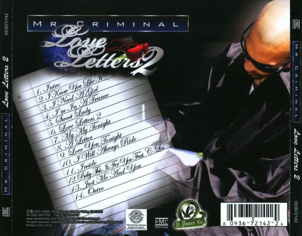 Mr. Criminal - Love Letters 2 (Back)