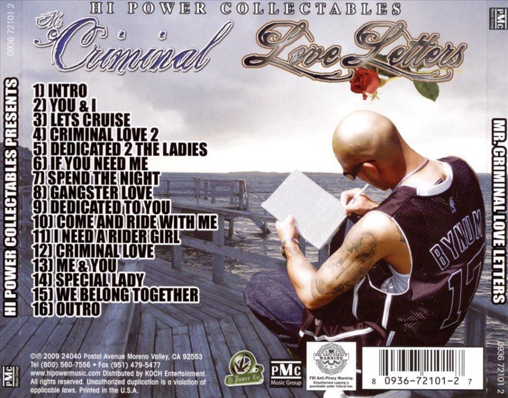 Mr. Criminal - Love Letters (Back)