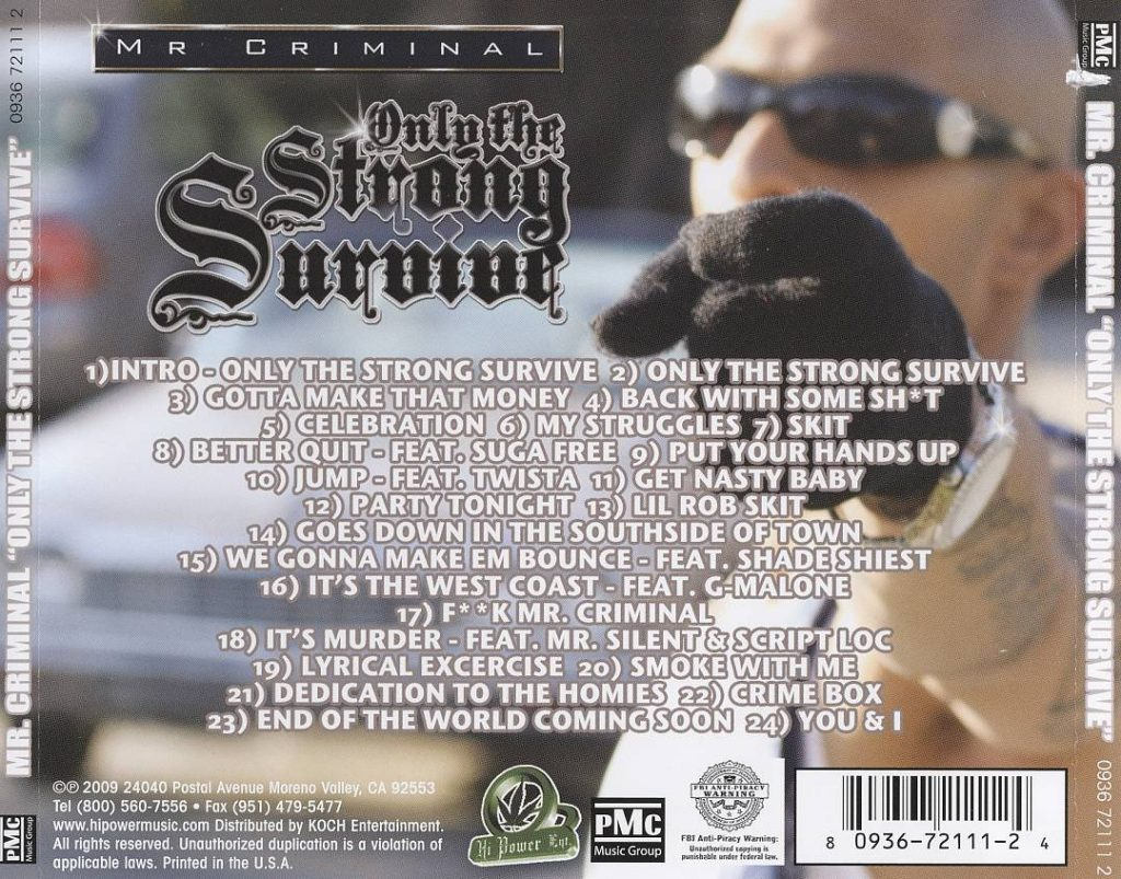 Mr. Criminal - Only The Strong Survive (Back)