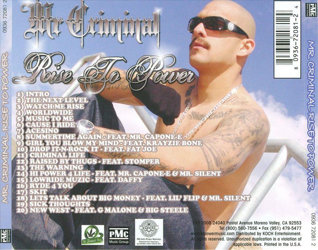 Mr. Criminal - Rise To Power (Back)
