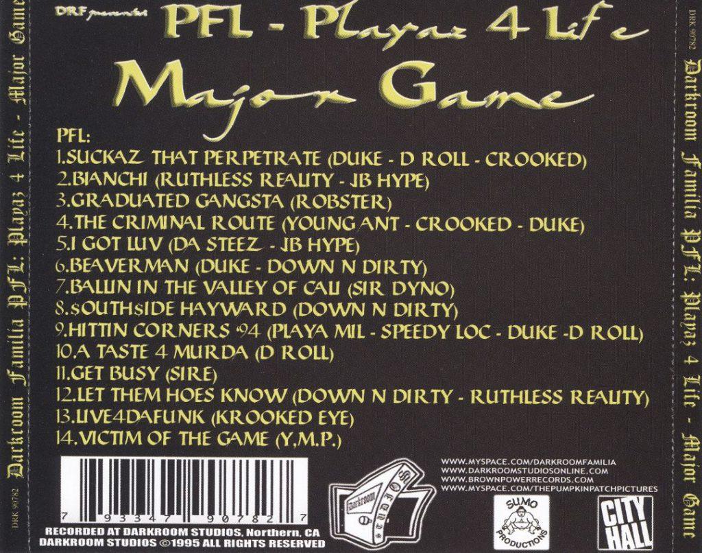 Playaz 4 Life - Major Game (Back)