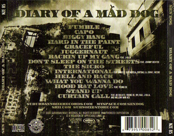 Sen Dog - Diary Of A Mad Dog (Back)
