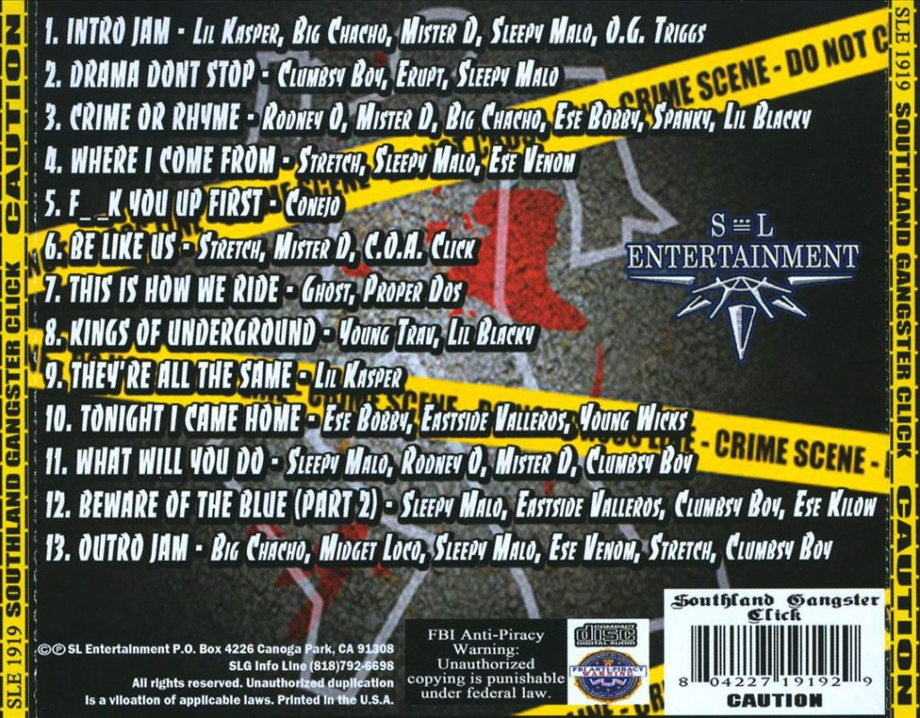 Southland Gangster Click - Caution (Back)
