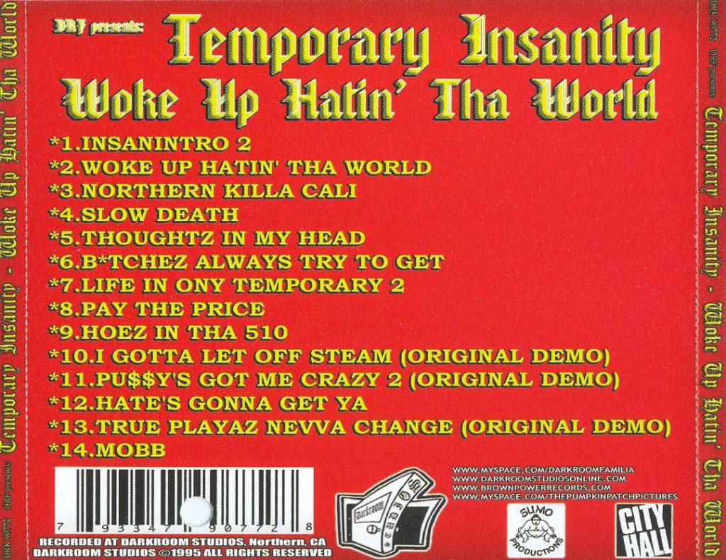 Temporary Insanity - Woke Up Hatin' Tha World (Back)