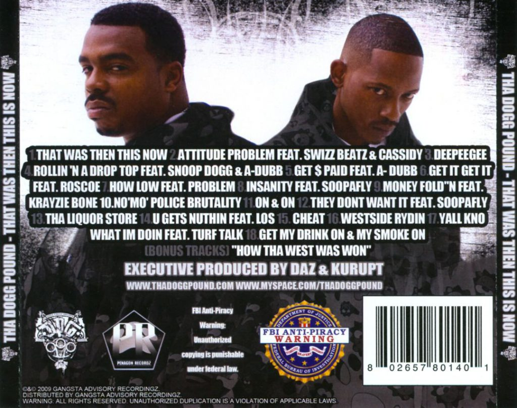 Tha Dogg Pound - That Was Then This Is Now (Back)