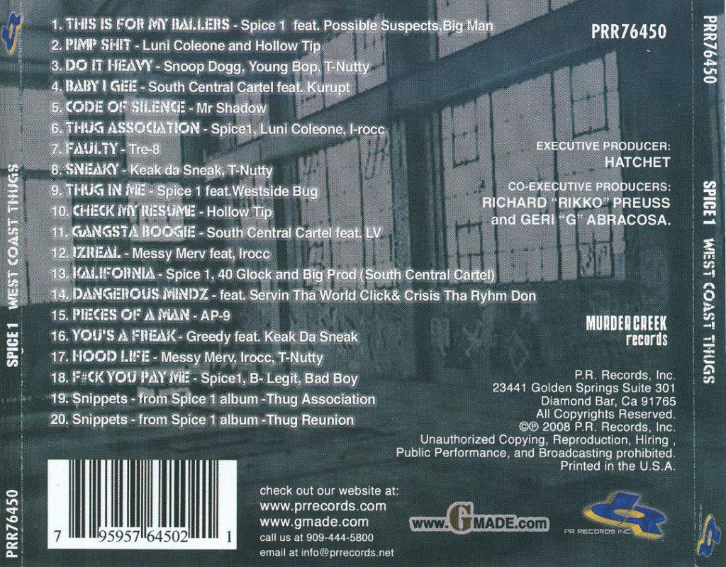 Various - Spice 1 Presents West Coast Thugz (Back)